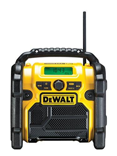 DeWalt Akku- und Netz-Radio/ Baustellen-Radio (DAB(DAB(+)/FM Stereo/FM, für 10,8 - 18 V, 3.5 mm Aux Eingang zum Abspielen externer Geräte, robustes Gehäuse, 1.8 m Kabel), DCR020