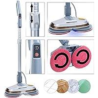 Sichler Haushaltsgeräte Bodenpoliermaschine: Fußboden-Poliermaschine mit Teleskop-Griff, Sprüh-Funktion & LEDs (Bodenreiniger)