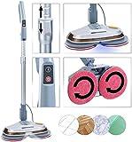 Sichler Haushaltsgeräte Bodenpoliermaschine: Fußboden-Poliermaschine mit Teleskop-Griff, Sprüh-Funktion & LEDs (Bodenpolierer)