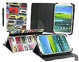 Emartbuy® BigBen Unity Tab 7 Tablet PC 7 Zoll Retro Kassette Multi Angle Exekutiv Folio Mappen Kasten Abdeckung mit Kartensteckplätze + Eingabestift