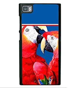 Pair of Red Parrots 2D Hard Polycarbonate Designer Back Case Cover for Xiaomi Redmi Mi3