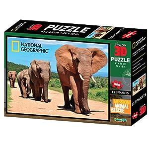 National Geographic NG10052Super Animal Rescue Puzzle de Elefante Africano en 3D (500Unidades)