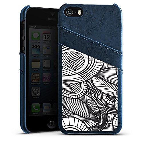 Apple iPhone 5s Housse Étui Protection Coque Feuilles Noir et blanc Gris Étui en cuir bleu marine