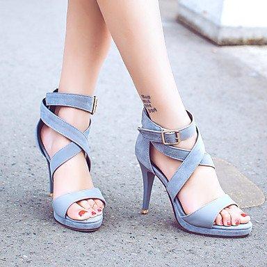 LvYuan Da donna-Sandali-Ufficio e lavoro Casual Serata e festa-Comoda-A stiletto-Finta pelle-Blu Rosa Grigio gray