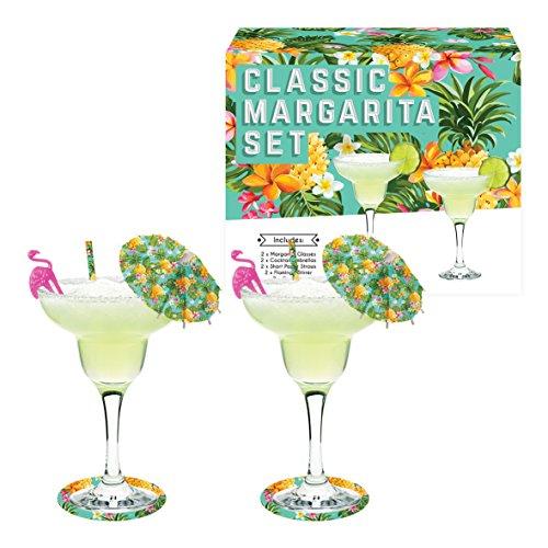 Vintage Küche Company Margarita Cocktail Gläser Geschenk Set, transparent, Set von 2 - Margarita-gläsern
