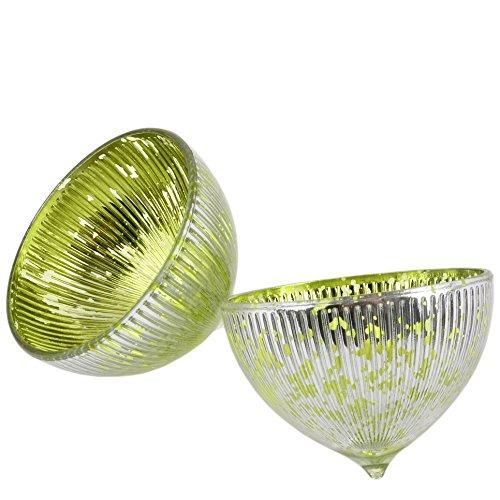 Dadeldo Schwimmlichter 2er Set Glas 6x8x8cm Windlicht Teelichthalter (grün Silber)