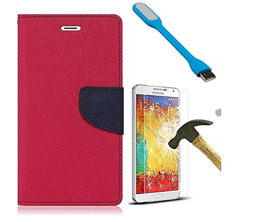 HTC Desire 628 Mercury Flip Wallet Diary Card Case Cover (Pink+Tempered+USB) by Mobile Life