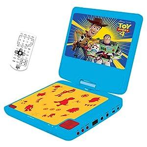 """Lexibook Disney Toys Story 4-Lector DVD portátil, Pantalla LCD giratoria 7"""", Puerto USB y Mando a Distancia, Control Parental, batería Recargable DVDP6TS, Color Azul/Amarillo"""