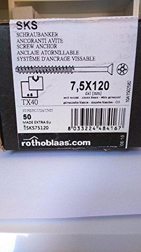 vis béton diam 7,5 x longueur 120/TX40/boite de 100 vis/percage 6,5 dans le béton
