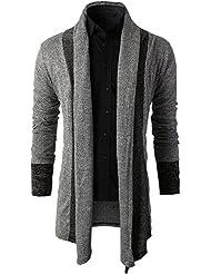 Sweat Cardigan Herren Offener Long-Cardigan Slim Fit Strickjacke Lang Langarm Sweatshirt Mantel