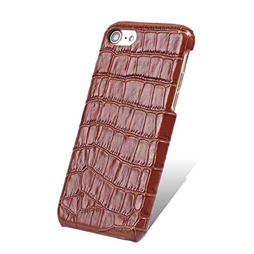 iPhone 6/6S plus Caso, Moda Coccodrillo Texture +Davvero Slot di scheda cintura + Slim PC Shell per iPhone 6/6S plus caso (Rose) Marrone