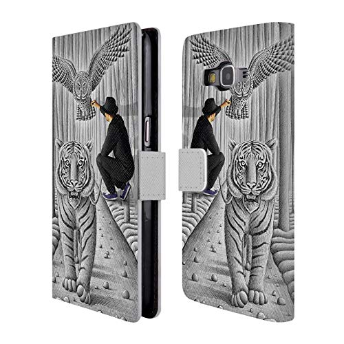 Head Case Designs Offizielle Ben Heine Tiger Und Eule Bleistift Gegen Kamera Brieftasche Handyhülle aus Leder für Samsung Galaxy Grand Prime