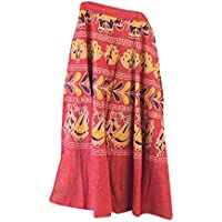 Mogul Interior Indian Beach Wrap Skirt Red Ethnic Block Printed Cotton Long Wrap Dress Skirts