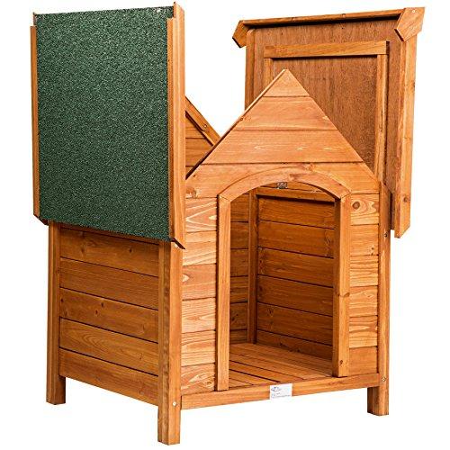 TecTake Hundehütte XXL Massiv Holz für Indoor und Outdoor 72x65x83 cm Hundehaus wetterfest mit aufklappbarem Spitzdach - 3