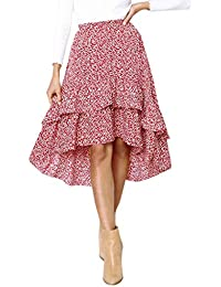 1253ac8fcece0a Riou Lang Rock Damen Elegant Sommer Long Strandrock Frauen Mode A Line Röcke  Hohe Taille Hüfte Punktdruck Lose Damenrock für Casual…