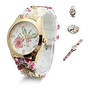 Estone Hot Fashion Women Dress Watch Silicone Printed Flower Causal Quartz Wristwatches (Wine Red)