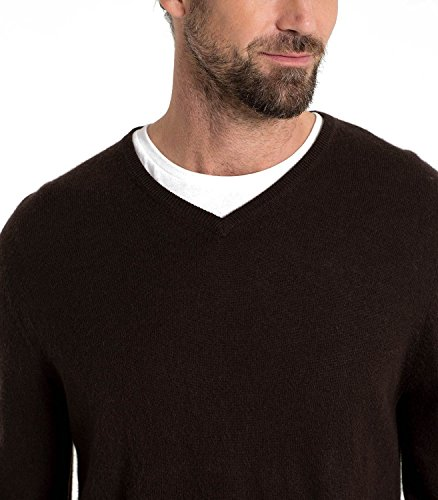 Wool Overs Pull homme col V en cachemire mérinos Chocolat