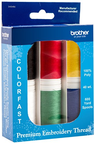 Brother SAEMB6 Premium Embroidery Thread, 6 spools, 100 Percent Polyester
