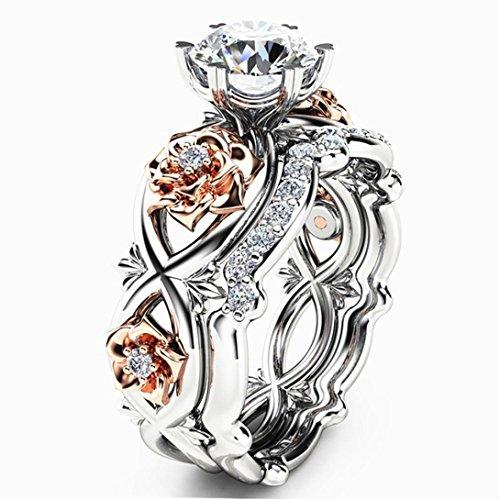 Schmuck Damen-Ring, Dragon868 Neue Damenmode zwei Ton Weiß Saphir Hochzeit Engagement Floral Ring Set (8)