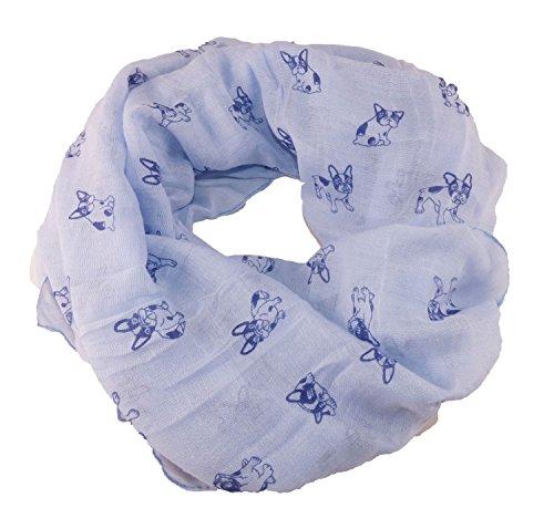 Loop Schlauchschal Halstuch Stola Französische Bulldogge Dogge (Hellblau) (Französisch-halstuch)