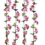 LUYUE 4x 233cm Cherry Blossom Artificial para colgar Vine guirnalda corona de flores Home Garden Yard valla fiesta boda decoración