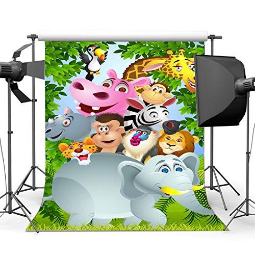 JoneAJ Vinyl Park Zoo Hintergrund 3X5FT Kinder 1. Geburtstag Dekoration Tapeten Kulissen Dschungel Wald Bäume Tiere Welt Cartoon Fotografie Hintergrund für Jungen Mädchen Fotostudio Requisiten