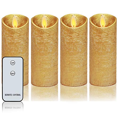 Blighth Flammenlose Kerze Set mit 4 Kerzen aus echtem Wachs mit Fernbedienung, bewegliche LED Flamme, Höhe 12,7 x D5,1 cm gold