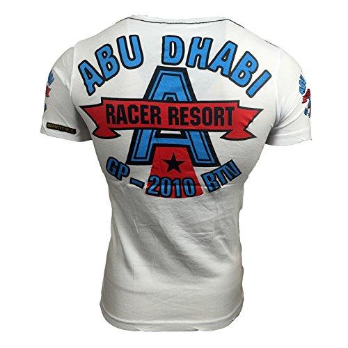 Polo T Shirt Herren Männer Poloshirt Jungs mit Motiv Print Druck A3503RN Weiß