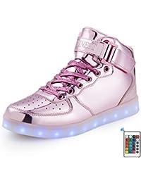AFFINEST Kinderschuhe High Top LED aufladen Schuhe blinken Fashion Sneakers for boys girls Halloween Weihnachten