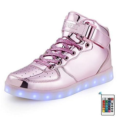AFFINEST Kinderschuhe High Top LED aufladen Schuhe blinken Fashion Sneakers Mit Fernbedienung Für Jungen (Der Golden Glow Of Christmas)