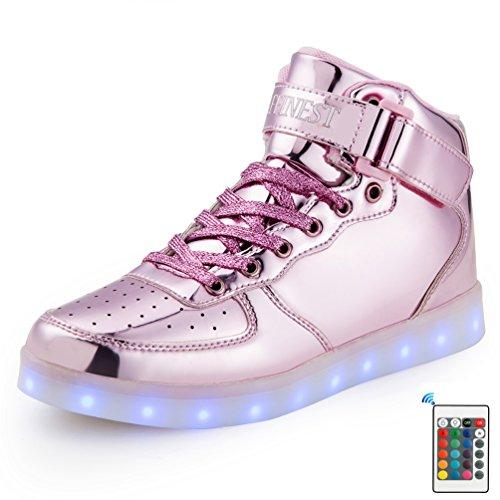 AFFINEST Kinderschuhe High Top LED aufladen Schuhe blinken Fashion Sneakers Mit Fernbedienung Für Jungen Mädchen?rosa,39) (Sportliche Halloween Kostüme)