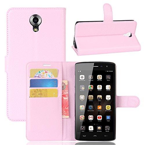 GARITANE Homtom HT7 Hülle Case Brieftasche mit Kartenfächer Handyhülle Schutzhülle Lederhülle Standerfunktion Magnet für Homtom HT7 (Rosa)