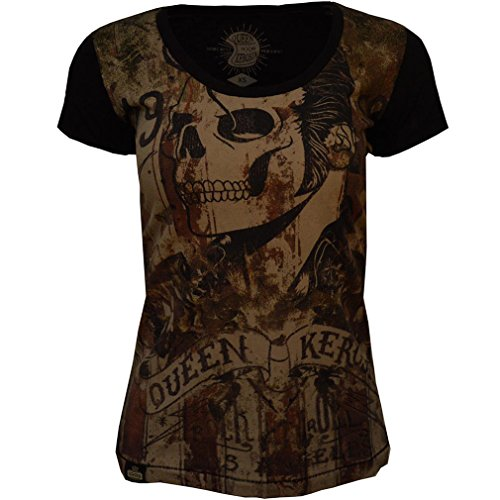 Queen Kerosin Vintage T-Shirt - Rock 'N' Roll Skull Schwarz Mehrfarbig
