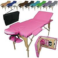 Linxor France ® Table de massage pliante 3 zones en bois avec panneau Reiki + accessoires et housse de transport, Rose
