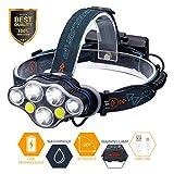 SGODDE LED Stirnlampe,5500 Lumen USB Wiederaufladbare LED Kopflampe wasserdicht mit 7 LED,8 Modi perfekt für Camping, Mountainbiking, Fischerei, Keller,Laufen, Campen, Wandern und Spaziereng