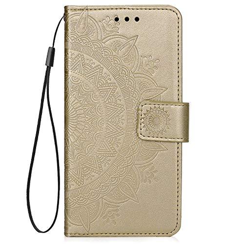 QPOLLY Kompatibel mit Samsung Galaxy M10 Hülle PU Leder Tasche Brieftasche Handyhülle Totem Blumen Muster Ledertasche Flip Hülle Schutzhülle mit Ständer Kartenhalter für Galaxy M10,Gold
