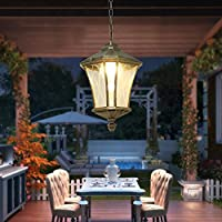 Traditional Exterior Ceiling Pendant Lights 1 × E27 Vintage Outdoor Aluminum Antique Aluminum Finish Hallway Winter Garden Balcony Porch Chandelier by Wrei