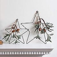 Lights4fun - Estrellas Decorativas Navideñas de Hierro con Hojas de Eucalipto