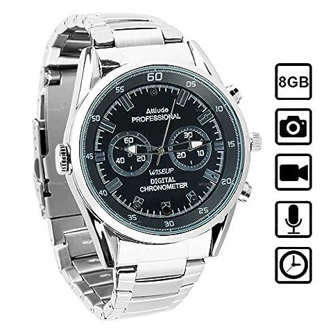 WISEUP 8GB 1280x720P HD Mini Camera Espion dans Montre Portable DV Caméscoupe avec Fonction d'Enregitrement Vocal et d'Instantané
