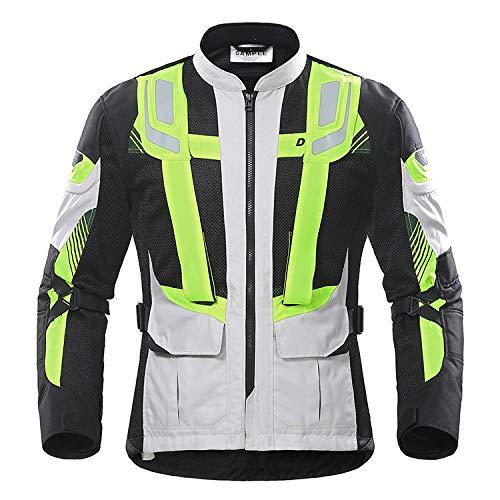 FHKL Sommer Motorrad Jersey Mesh Atmungsaktiv Rennanzug Offroad-Anti-Drop Verschleißfeste Motorradbekleidung,Gray-L -
