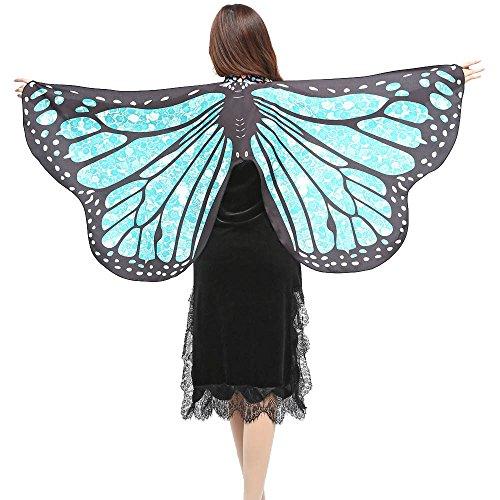 s Flügel, Damen Kostüm Verkleidung für Karneval Fasching Halloween Parties,Weicher Gewebe Schal(A-Hellblau) ()