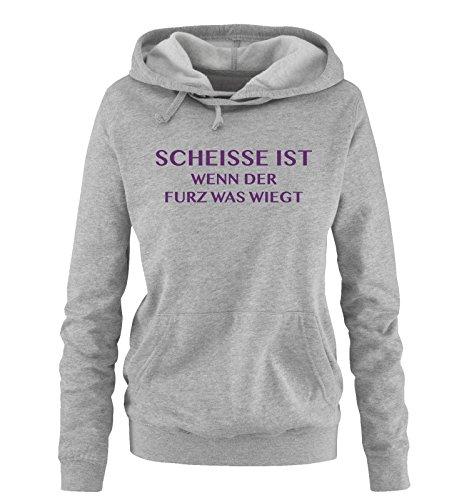 Comedy Shirts Scheisse ist - Wenn der Furz was wiegt - Damen Hoodie - Grau/Lila Gr. M - Riechen Fürze