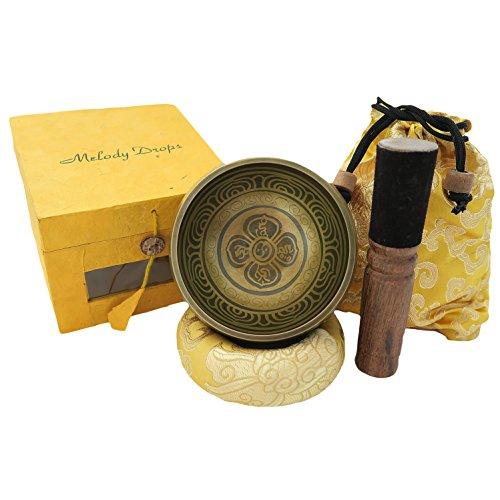 Handgefertigte tibetische Klangschale Made in Nepal, inklusive Ringkissen, Holzklöppel, Aufbewahrungsbeutel und Geschenkbox - Singing Bowl Set, 5-teilig (T-shirt Creme-dunkler)