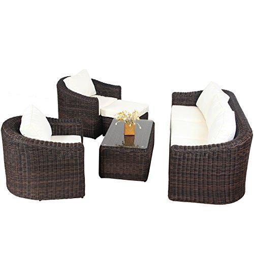 POLY RATTAN Lounge Gartenset BRAUN Sofa Garnitur Polyrattan Gartenmöbel Neu - 3
