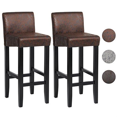 EUGAD 2er Set Barhocker Tresenstuhl mit Rücklehne und Fußstütze Holzgestell, Sitzfläche aus Kunstleder, 3 Farbe zur Auswahl