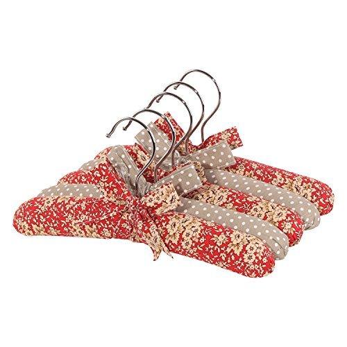"""neoviva algodón de tejido perchero percha con set de madera y esponja acolchado para bebé, Kid, la madre, 5unidades), diseño de flores, color rojo mandarina Flores Lunares, tela, Floral Mandarin Red Blossom Polka Dots, 10.2""""/26CM for Baby"""