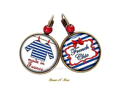 Boucles d'oreilles Made in France marinière bleu et rouge rayures couture dormeuses