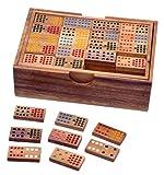 Domino Doppel 15 - Legespiel - Gesellschaftsspiel aus Holz mit