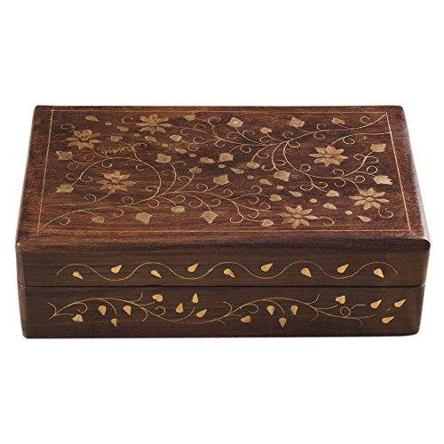 rusticity Holz Dekorative Jewelry Box–aufwendige | handgefertigt | (20,3x 12,7cm)