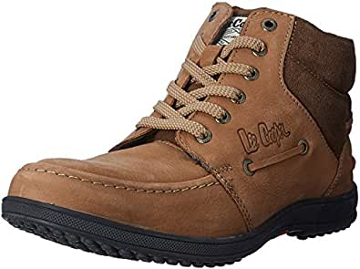 Lee Cooper Men's Chickoo Leather Boots- 7 UK/India (41 EU)